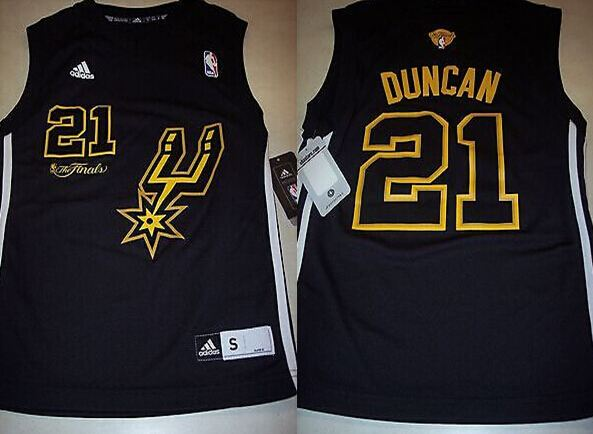 Spurs 21 Tim Duncan Black 2014 The Finals Jerseys