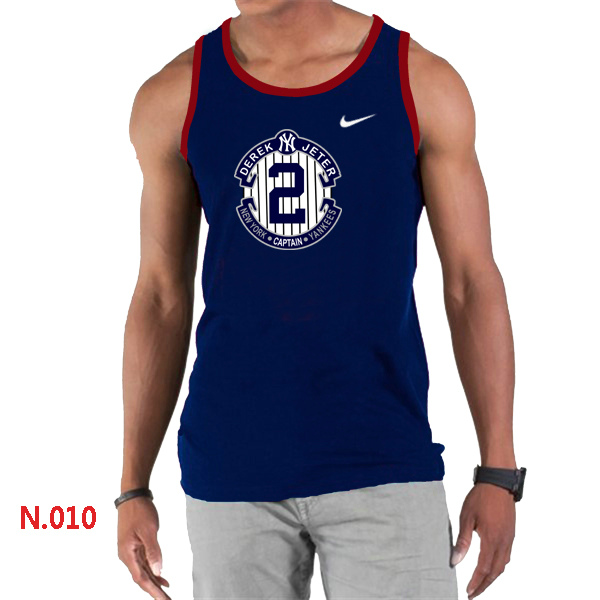 Nike Derek Jeter New York Yankees Final Season Commemorative Logo men Tank Top D.Blue