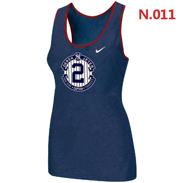 Nike Derek Jeter New York Yankees Final Season Commemorative Logo stretch Tank Top Blue