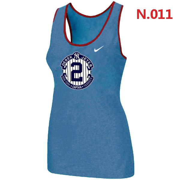 Nike Derek Jeter New York Yankees Final Season Commemorative Logo stretch Tank Top Lt.Blue