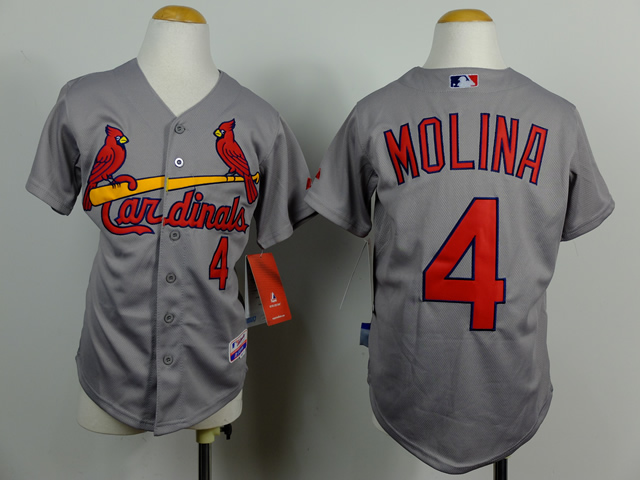 Cardinals 4 Molina Grey Youth Jersey