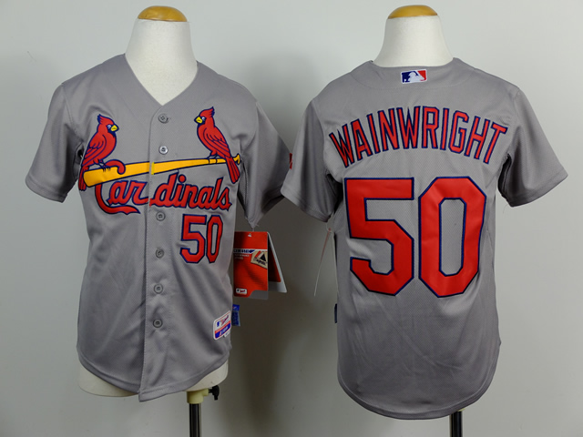 Cardinals 50 Wainwright Grey Youth Jersey