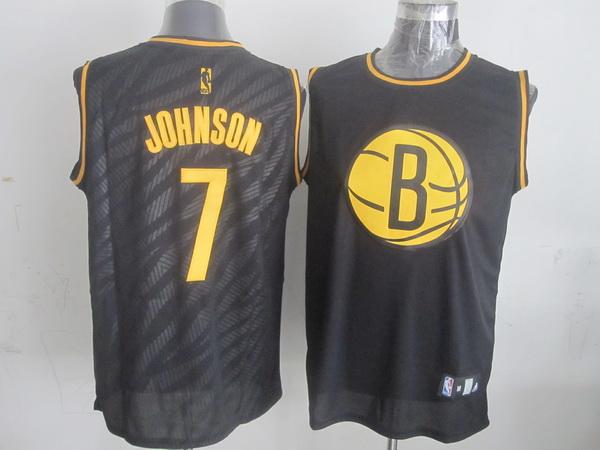 Nets 7 Johnson Black Precious Metals Fashion Jerseys