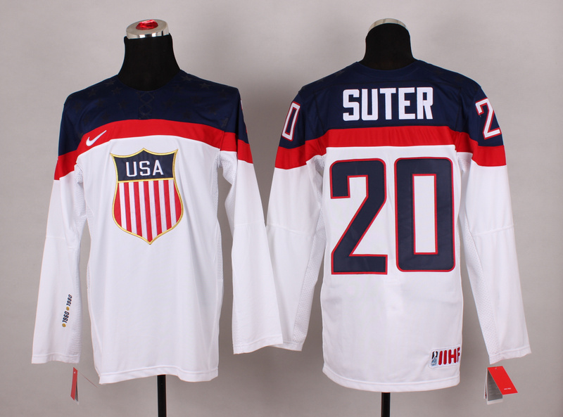 USA 20 Suter White 2014 Olympics Jerseys