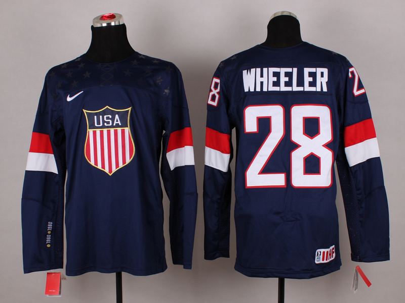 USA 28 Wheeler Blue 2014 Olympics Jerseys