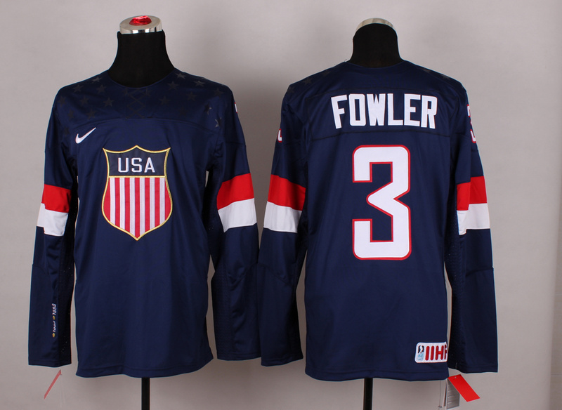 USA 3 Fowler Blue 2014 Olympics Jerseys