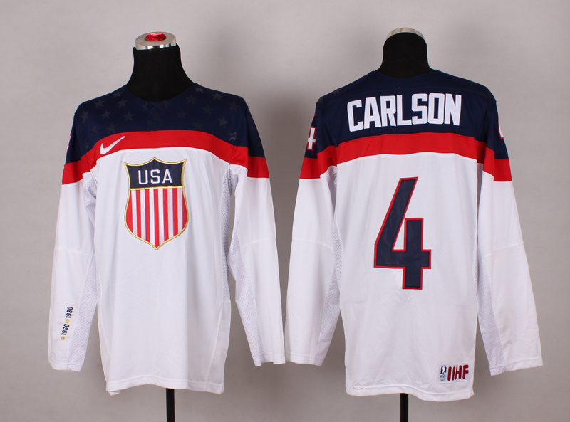 USA 4 Carlson White 2014 Olympics Jerseys