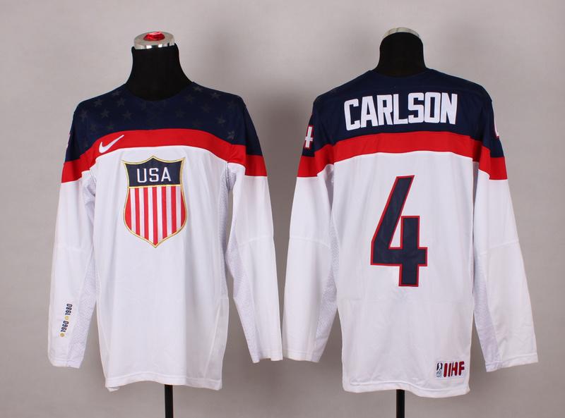 USA 4 Carlson White 2014 Olympics Jerseys