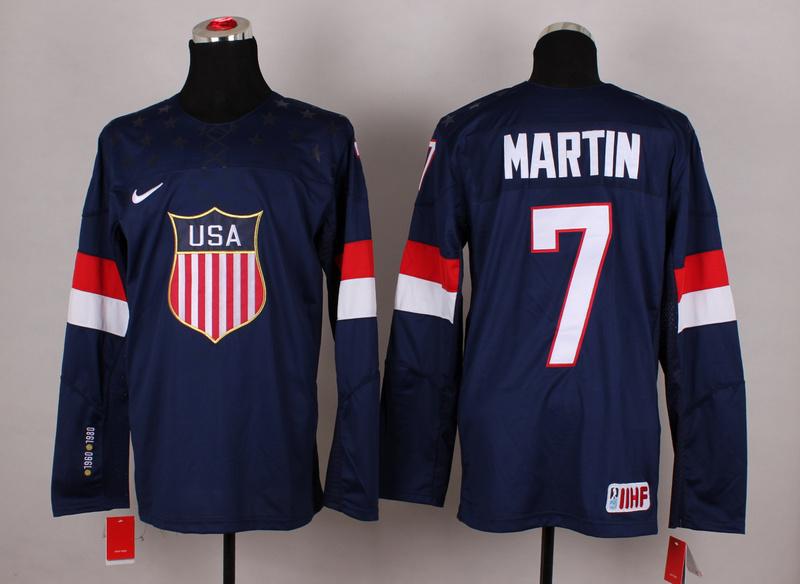USA 7 Martin Blue 2014 Olympics Jerseys
