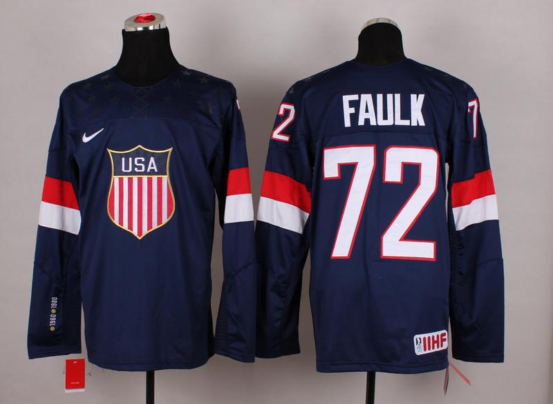 USA 72 Faulk Blue 2014 Olympics Jerseys