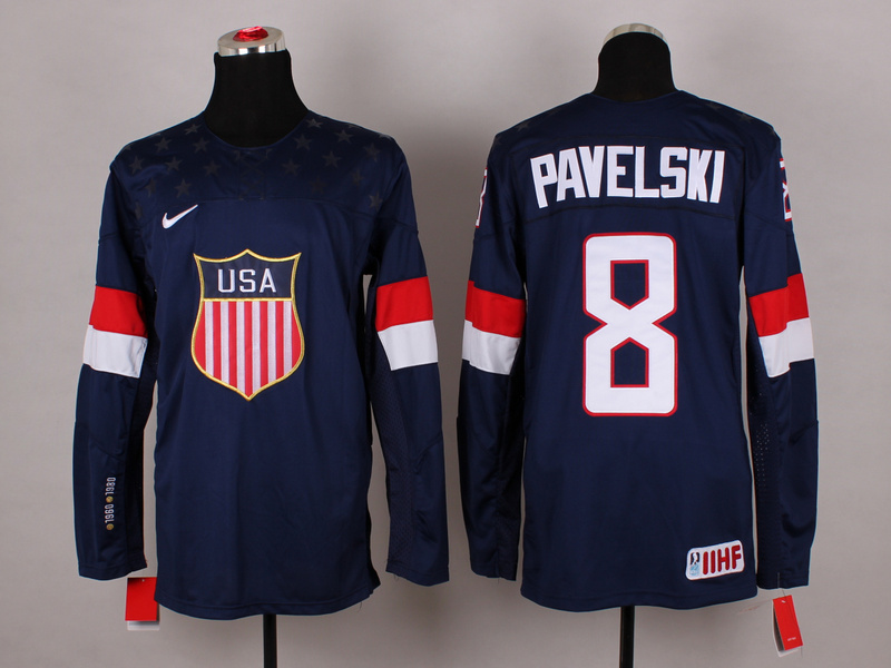 USA 8 Pavelski Blue 2014 Olympics Jerseys