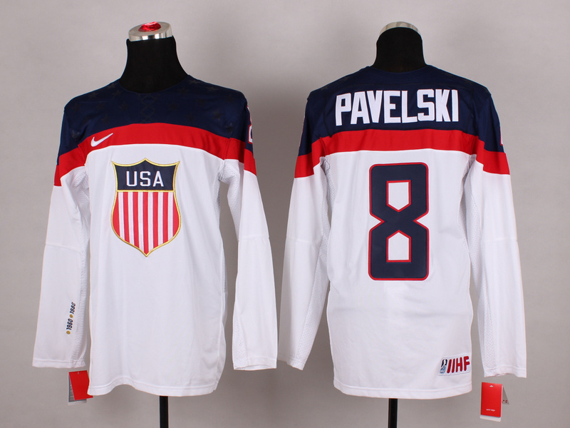 USA 8 Pavelski White 2014 Olympics Jerseys