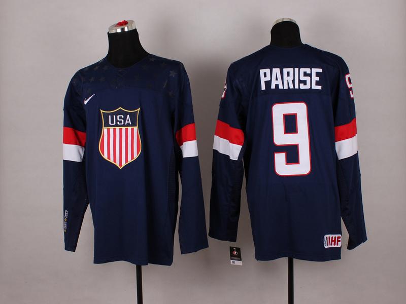 USA 9 Parise Blue 2014 Olympics Jerseys