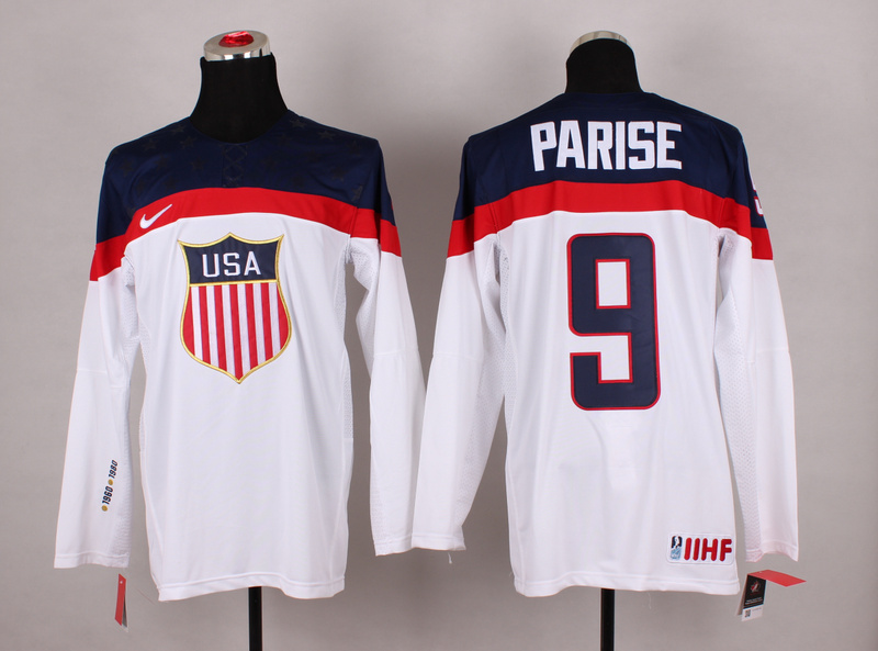 USA 9 Parise White 2014 Olympics Jerseys