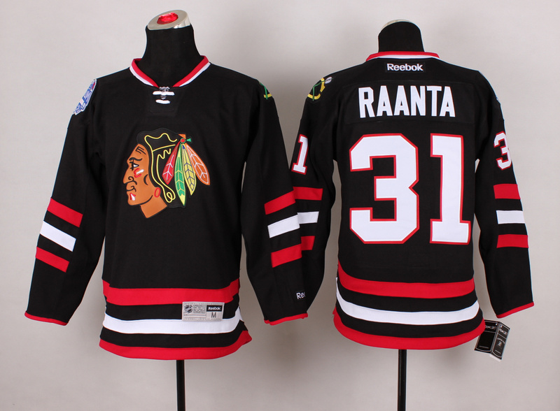 Blackhawks 31 Raanta Black 2014 Stadium Series Jerseys