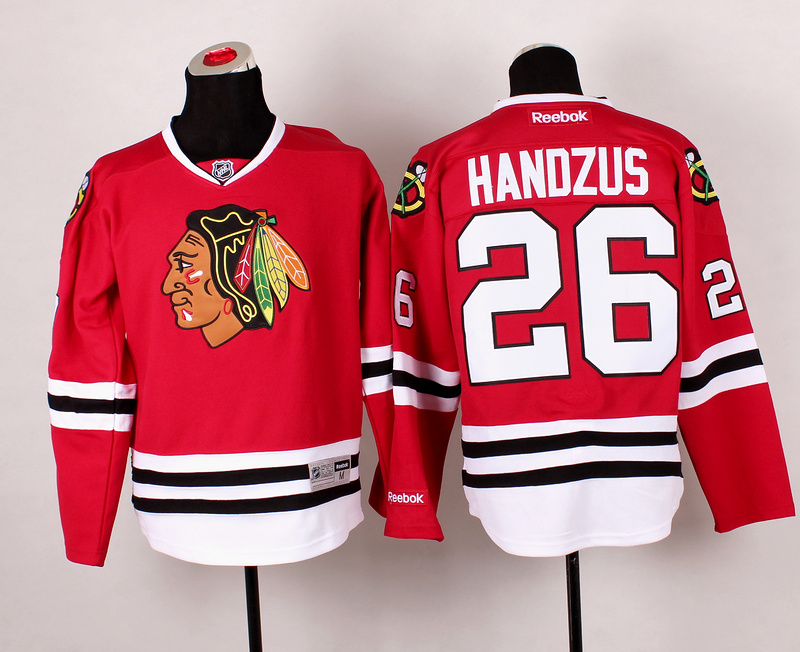 Blackhawks 26 Handzus Red 2014 Stadium Series Jerseys