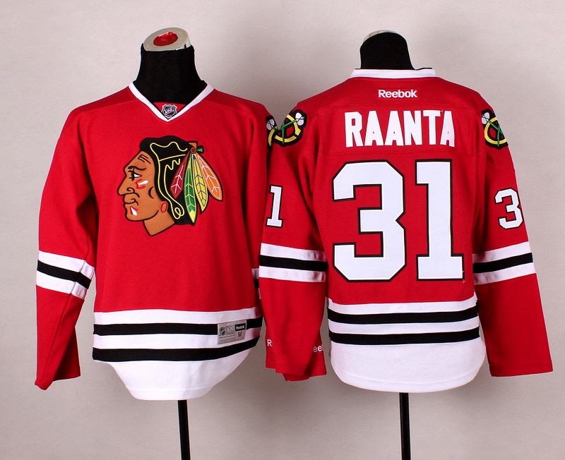 Blackhawks 31 Raanta Red 2014 Stadium Series Jerseys