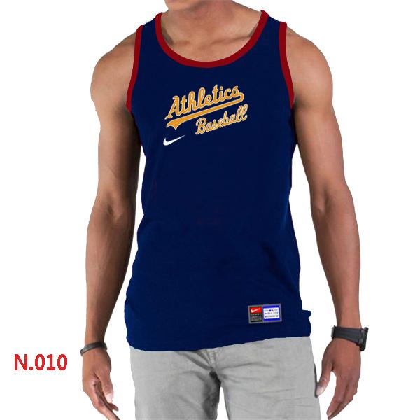 Nike Oakland Athletics Home Practice Men Tank Top D.Blue