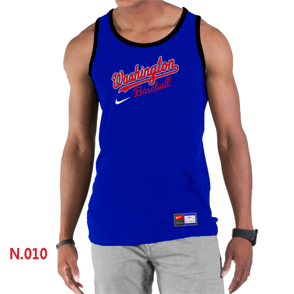 Nike Washington Nationals Home Practice Men Tank Top Blue