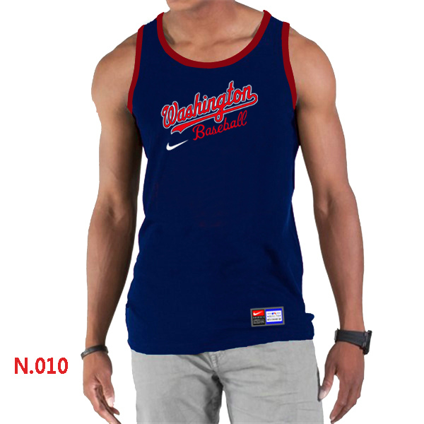 Nike Washington Nationals Home Practice Men Tank Top D.Blue