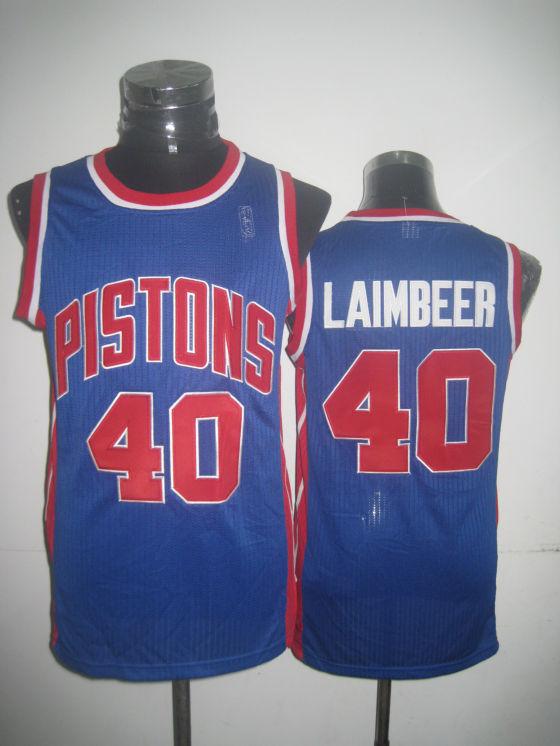Pistons 40 Laimbeer Blue New Revolution 30 Jerseys
