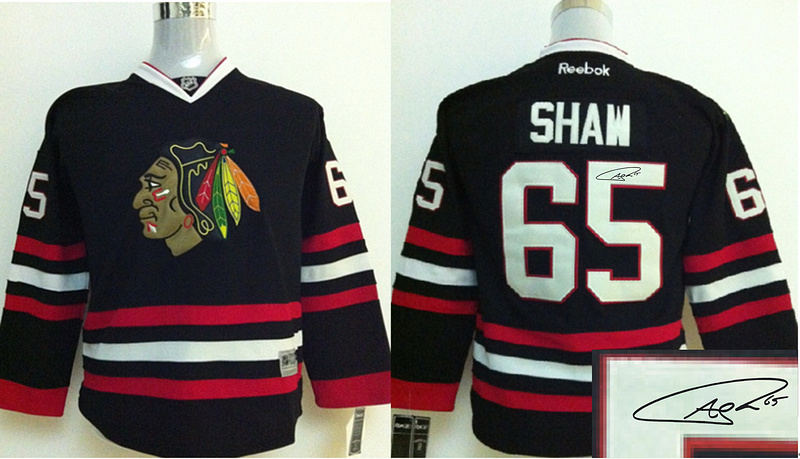 Blackhawks 65 Shaw Black Signature Edition Youth Jerseys