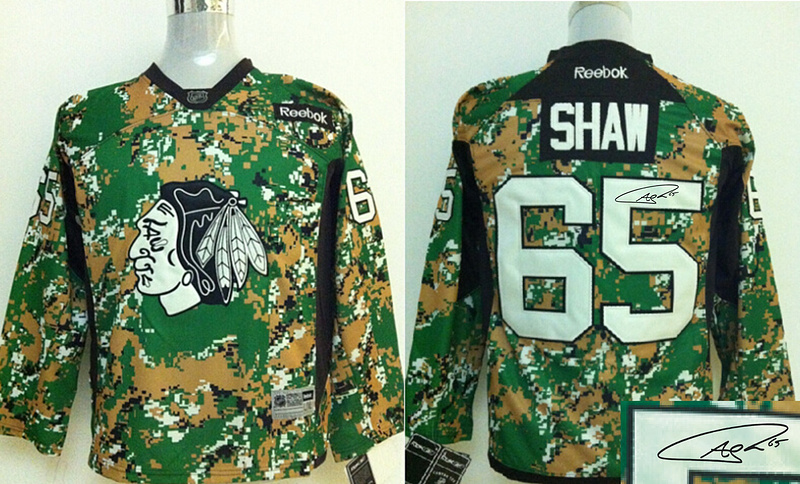 Blackhawks 65 Shaw Camo Signature Edition Jerseys