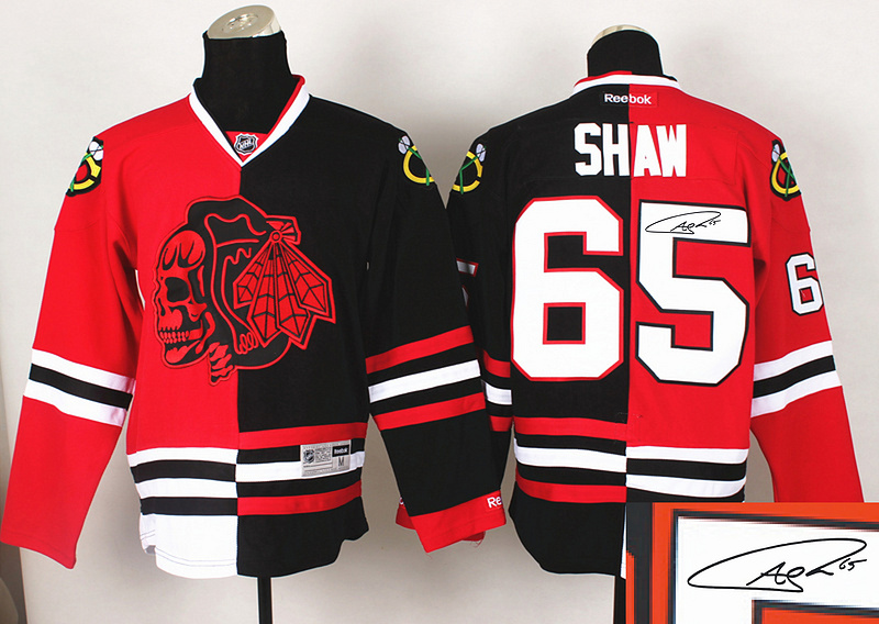 Blackhawks 65 Shaw Red&Black Split Red Skulls Signature Edition Jerseys