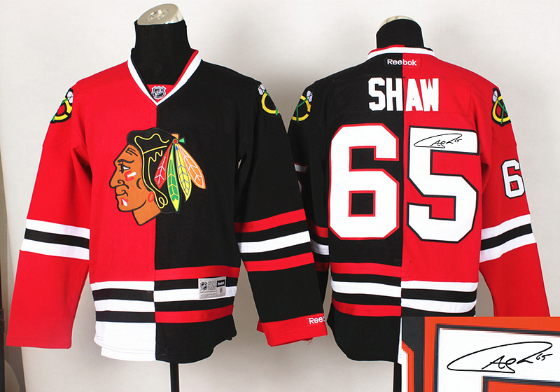 Blackhawks 65 Shaw Red&Black Split Signature Edition Jerseys