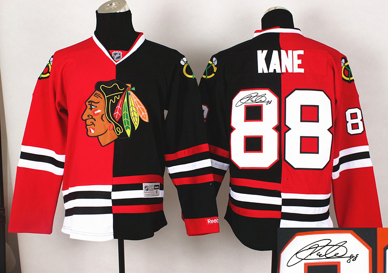 Blackhawks 88 Kane Red&Black Split Signature Edition Jerseys
