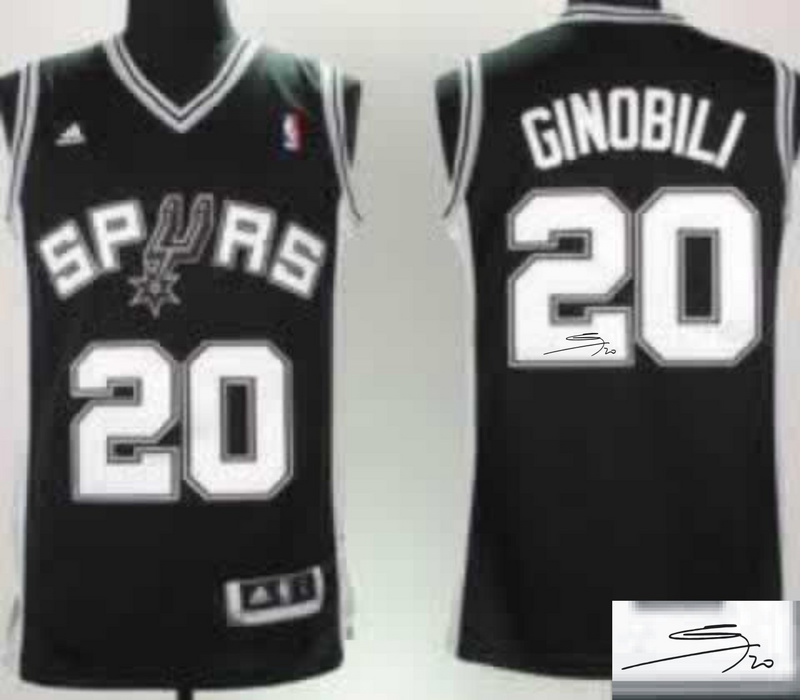 Spurs 20 Ginobili Black Signature Edition Jerseys