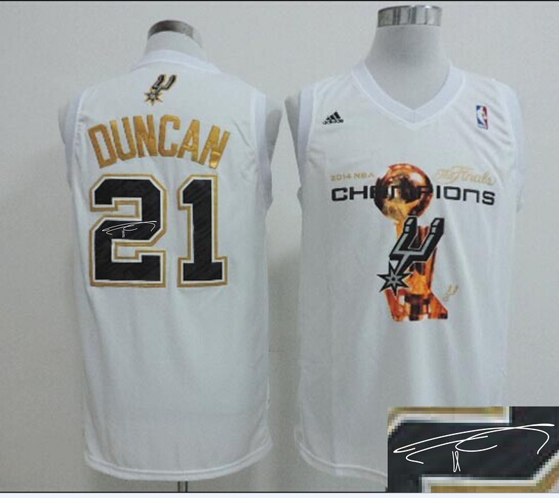 Spurs 21 Duncan White 2014 Champions Signature Edition Jerseys