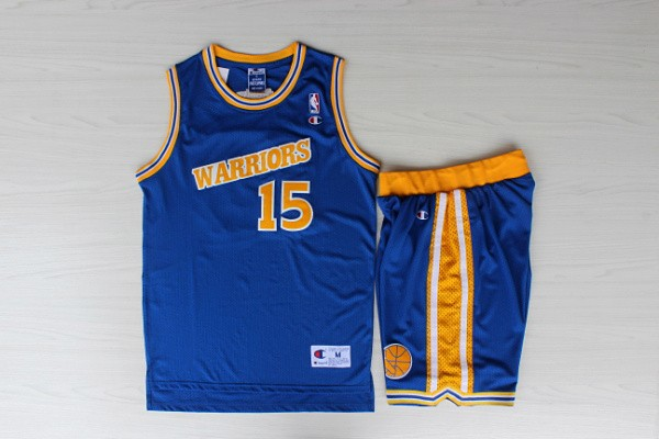 Warriors 15 Sprewell Blue New Revolution 30 Jersey (With Shorts)
