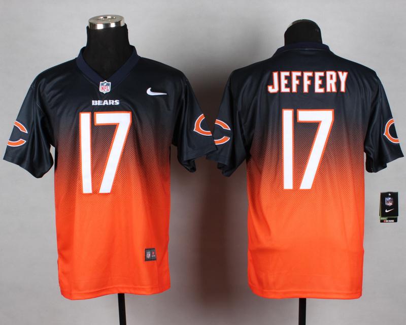 Nike Bears 17 Jeffery Blue And Orange Drift Fashion II Elite Jerseys