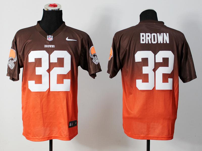 Nike Browns 32 Brown Brown And Orange Drift Fashion II Elite Jerseys
