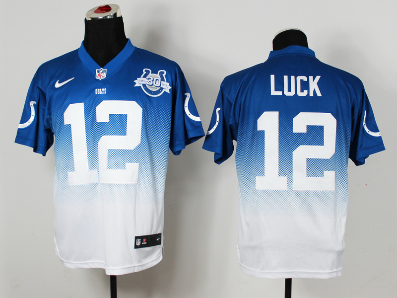 Nike Colts 12 Luck Blue And White Drift Fashion II Elite Jerseys