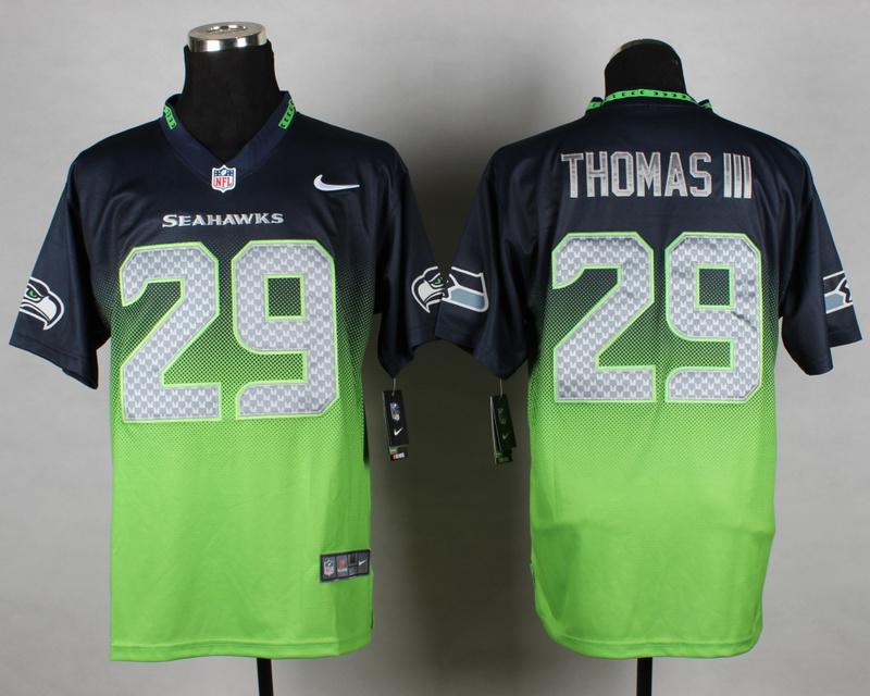 Nike Seahawks 29 Thomas III Blue And Green Drift Fashion II Elite Jerseys