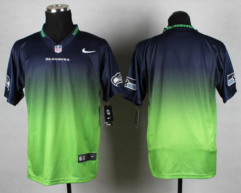 Nike Seahawks Blue And White Drift Fashion II Custom Jerseys