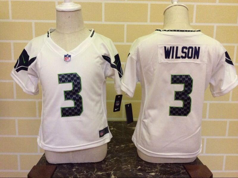 Nike Seahawks 3 Russell Wilson White Toddler Game Jersey