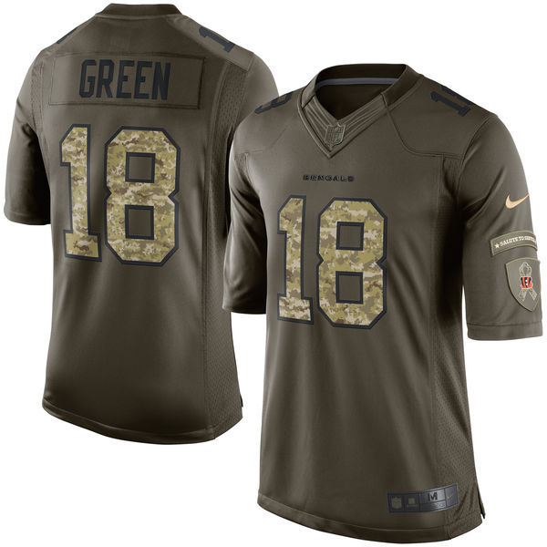 Nike Bengals 18 A.J. Green Green Salute To Service Limited Jersey