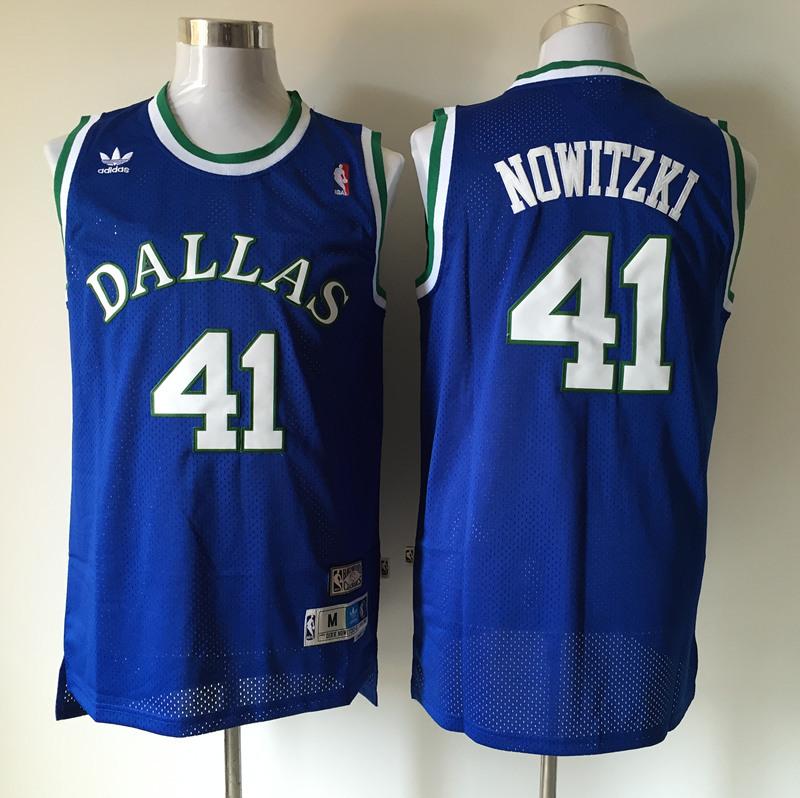 Mavericks 41 Dirk Nowitzki Blue Hardwood Classics Jersey