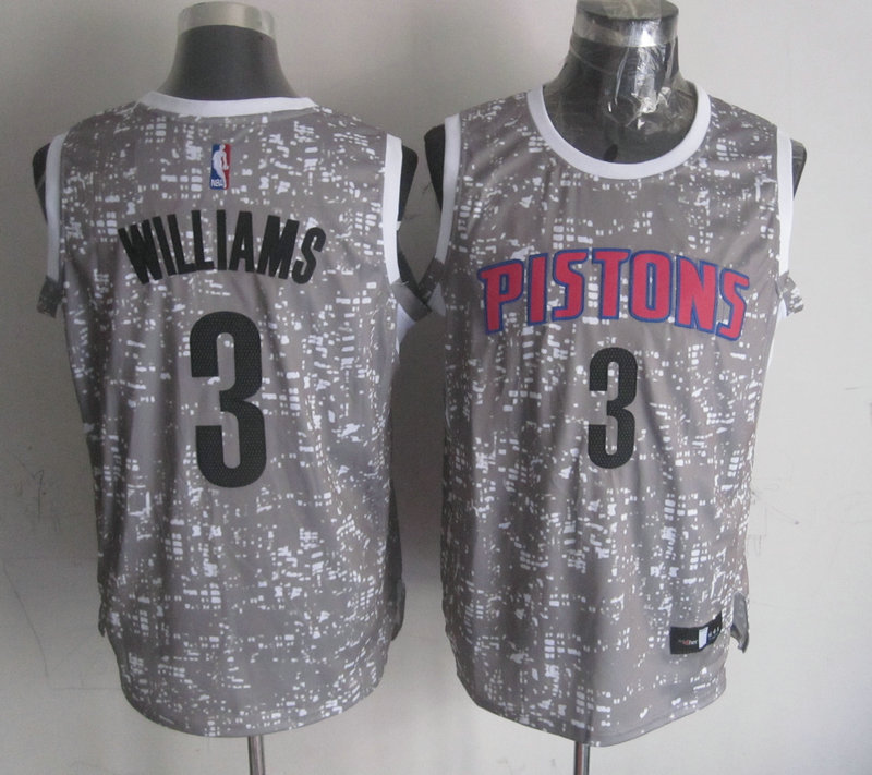 Pistons 3 Shawne Williams Grey City Luminous Jersey