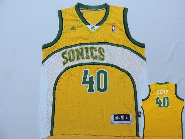Supersonics 40 Kemp Yellow New Revolution 30 Jerseys