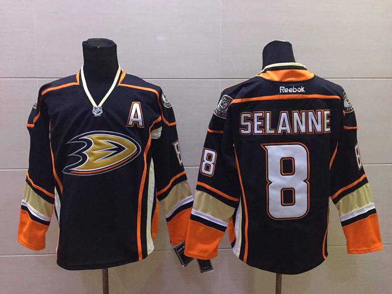 Ducks 8 Selanne Black A Patch Reebok Jersey