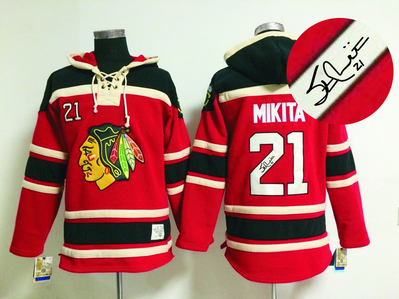 Blackhawks 21 Mikita Red Signature Edition Hooded Jerseys