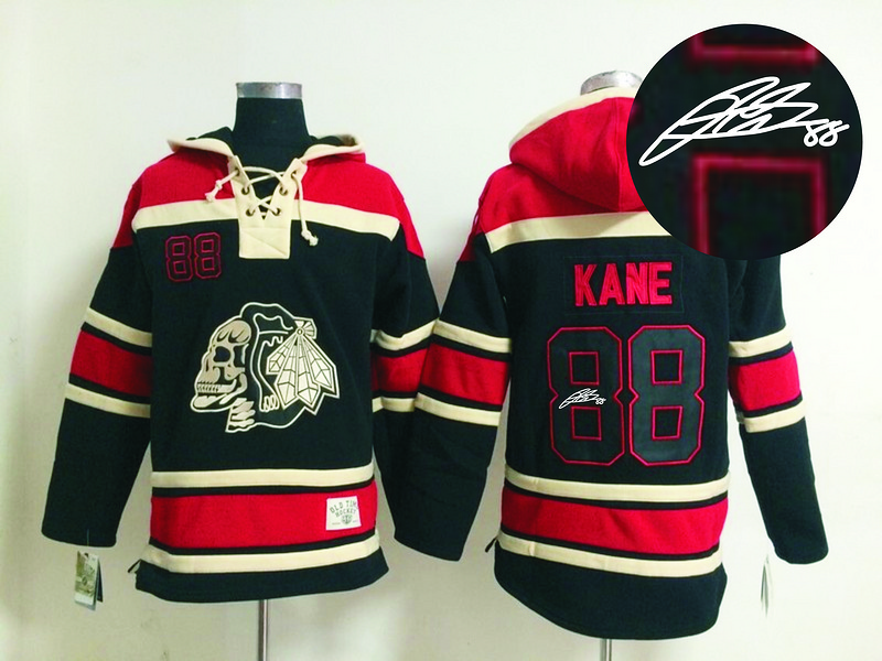 Blackhawks 88 Kane Black Skull Signature Edition Hooded Jerseys