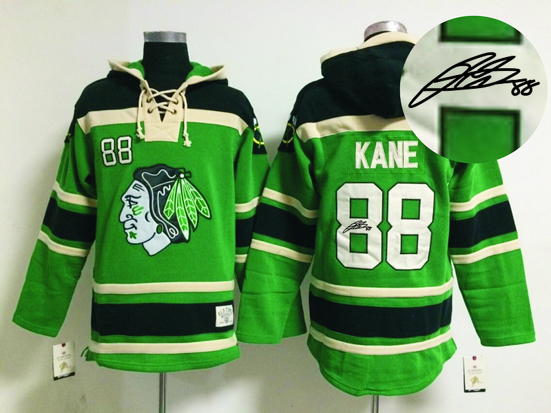 Blackhawks 88 Kane Green Signature Edition Hooded Jerseys