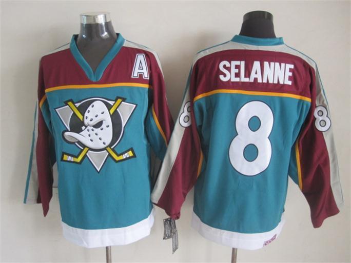 Ducks 8 Selanne Teal Alternate A Patch Jersey