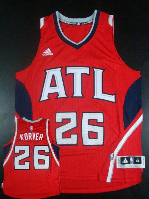 Hawks 26 Kyle Korver Red New Revolution 30 Jersey