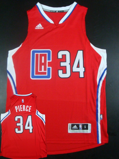 Clippers 34 Paul Pierce Red 2015 New Rev 30 Jersey(hot printed)